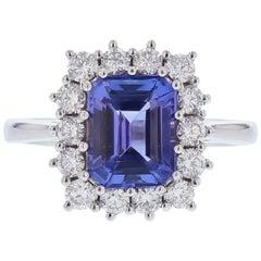 14 Karat White Gold 2.88 Carat Emerald Cut Tanzanite and Diamond Ring