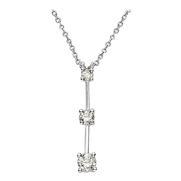 14 Karat White Gold 3 Diamond Pendant Necklace For Sale