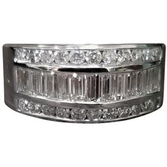 14 Karat White Gold 3-Row Baguette and Round Diamond Ring