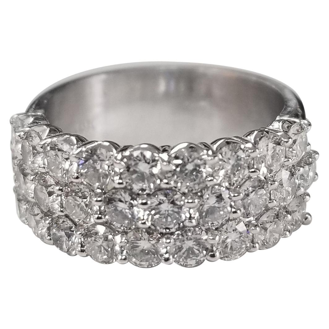 14 Karat White Gold 3-Row Shared Prong Wedding Ring