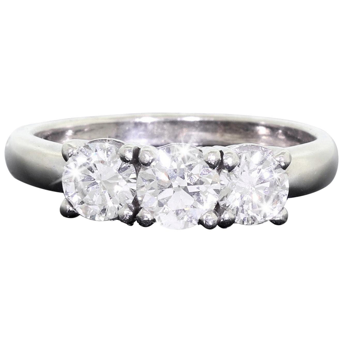 14 Karat White Gold 3-Stone Diamond Wedding Anniversary Ring 1.3 Carat