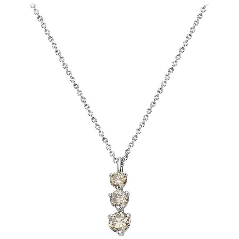 14 Karat White Gold 3-Stone Diamond Pendant Necklace For Sale