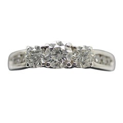 14 Karat White Gold 3-Stone Diamond Ring with the Past/Present/Future