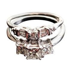 14 Karat White Gold 3-Stone Princess Cut Wedding Set