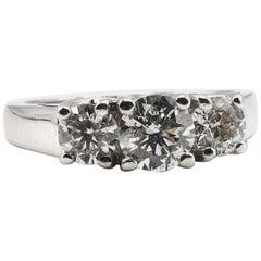 14 Karat White Gold 3-Stone Round Brilliant Cut Diamond Engagement Ring