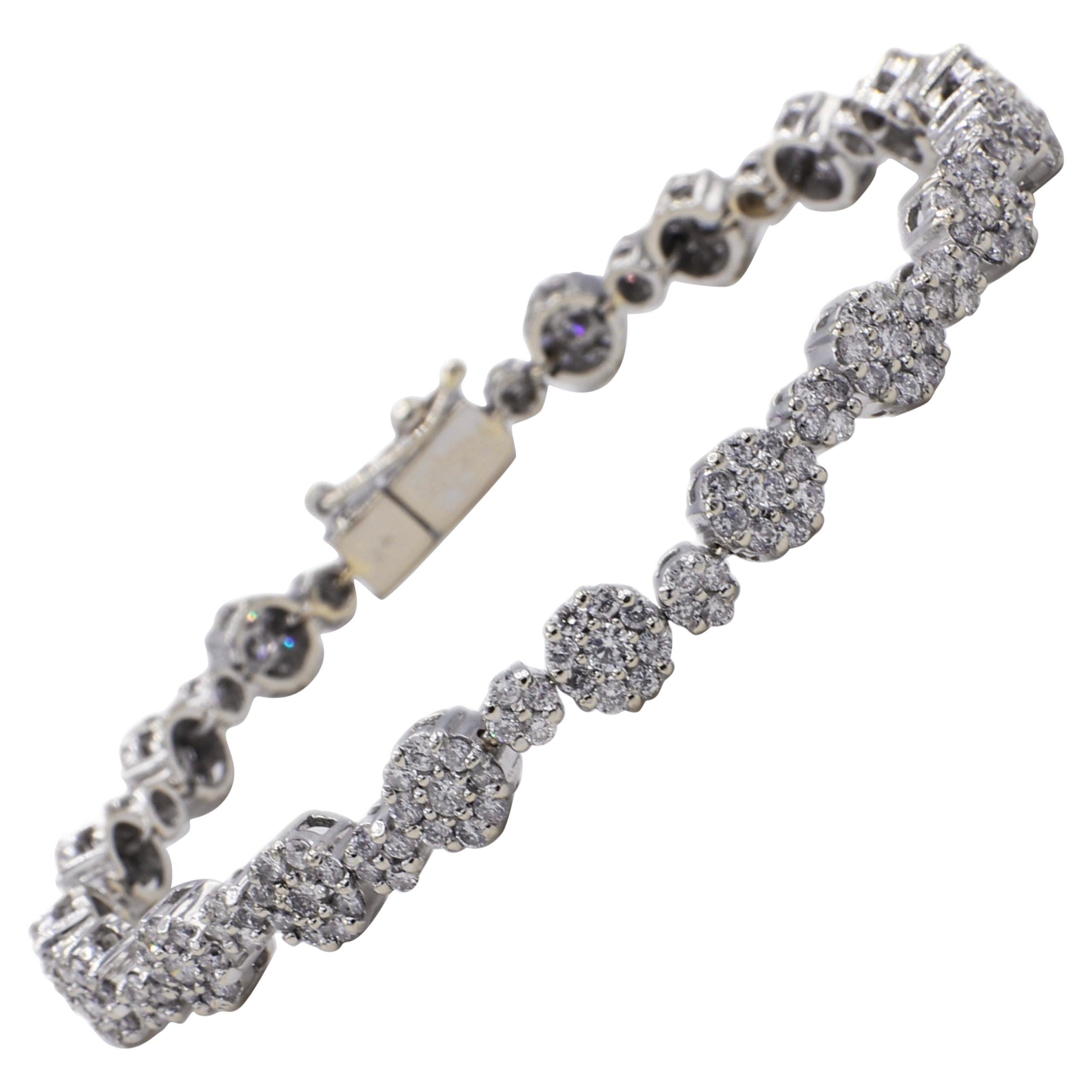 14 Karat White Gold 3.00 Carat Diamond Cluster Tennis Bracelet