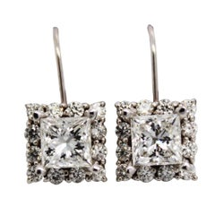 14 Karat White Gold 3.00 Carat Diamond Drop Earrings