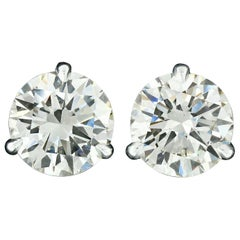 14 Karat White Gold 3.03 Carat Martini Prong Set GIA Round Diamond Stud Earrings