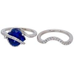 14 Karat White Gold 3.06 Carat Chatham Sapphire and Diamond Wedding Set