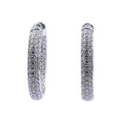 14 Karat White Gold Pave Diamond Inside Outside Hoop Earrings