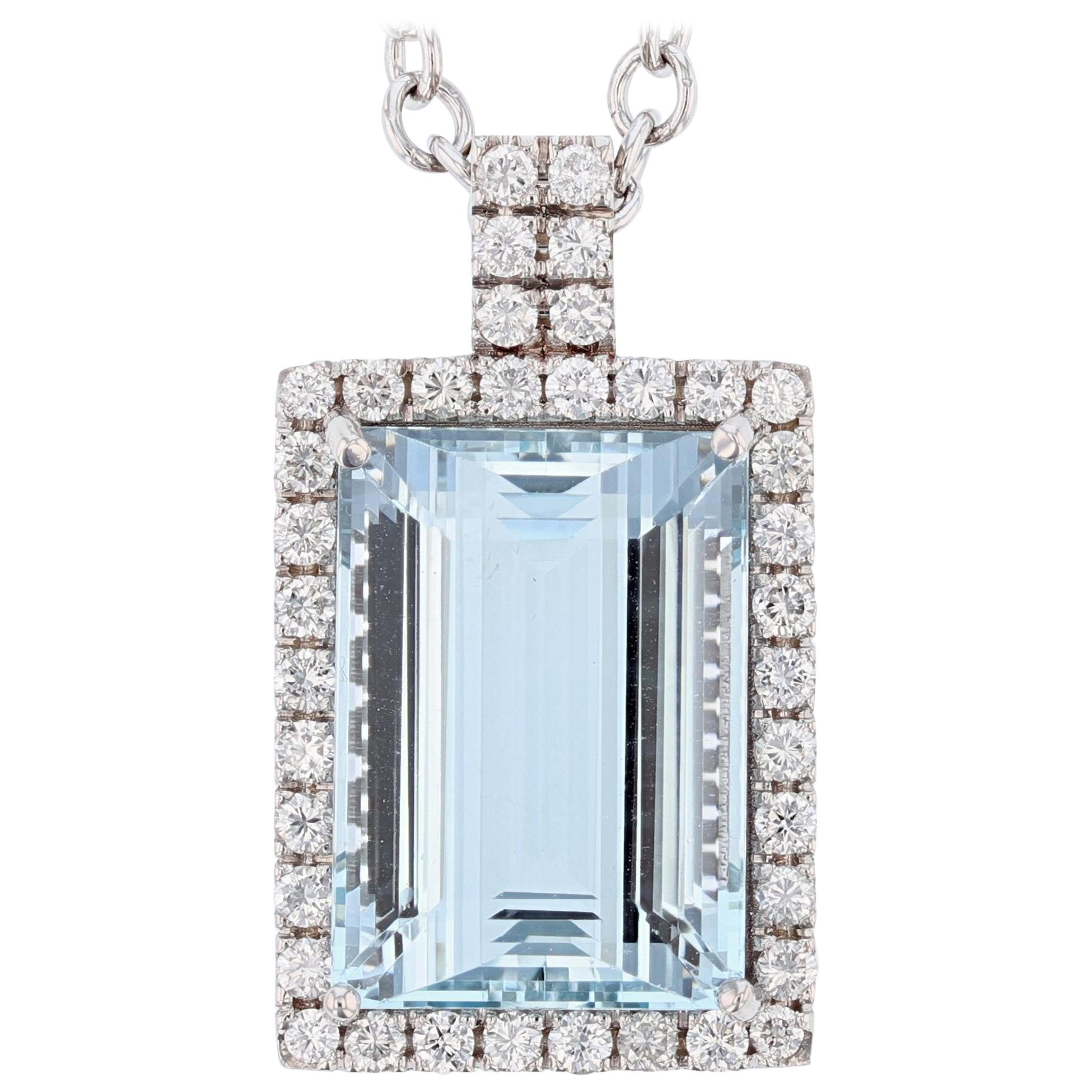 14 Karat White Gold 31.51 Carat Aquamarine and Diamond Pendant Necklace