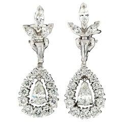 14 Karat White Gold 3.40 Carat Pear Diamond Halo and Flower Drop Dangle Earrings