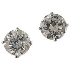 14 Karat White Gold 3.50 Carat Diamonds Stud Earrings
