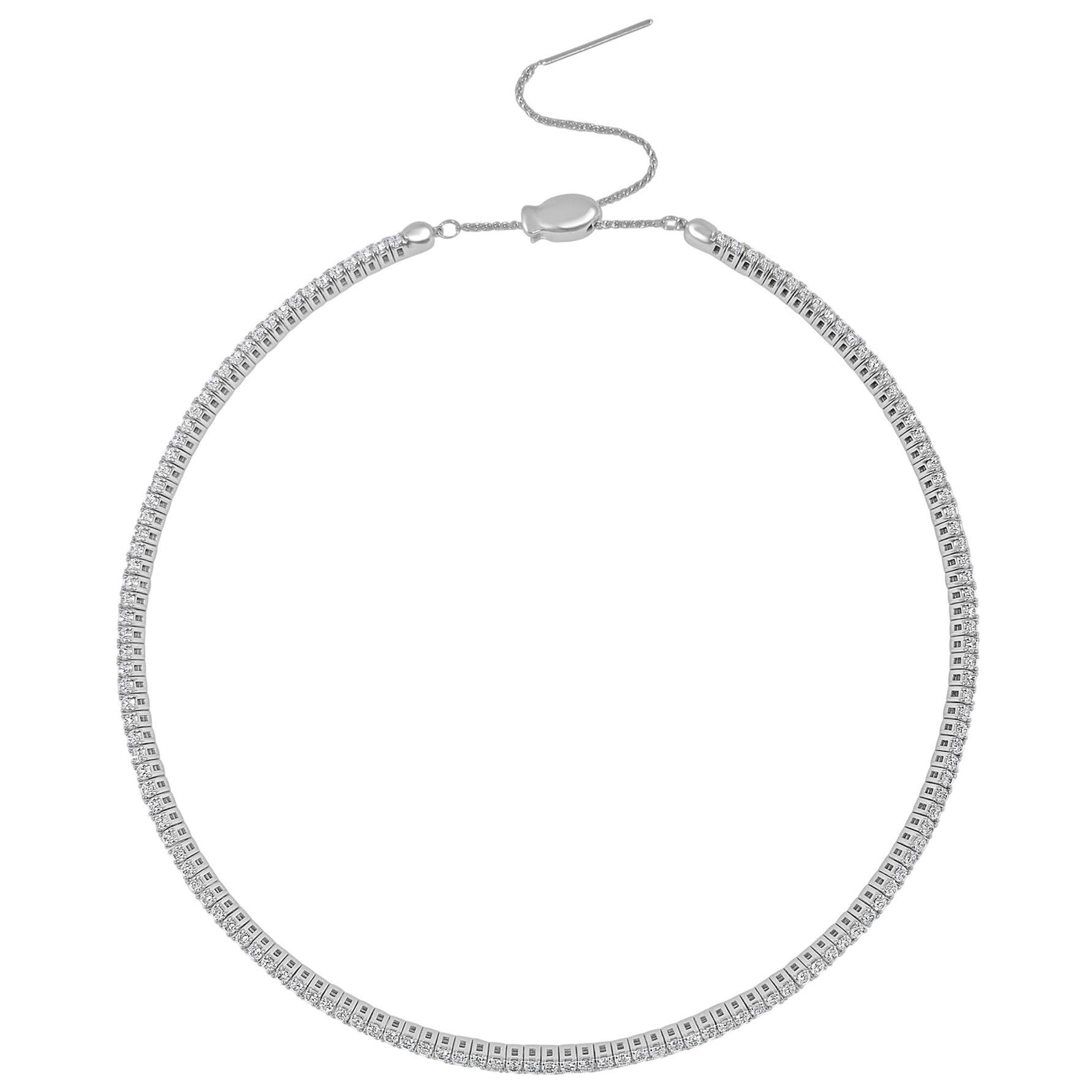 14 Karat White Gold 3.56 Carat Diamond Choker Collar Necklace