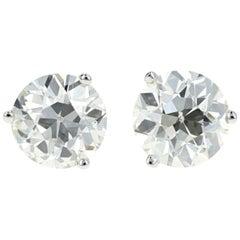 14 Karat White Gold 3.83 Carat Total Weight Old European Cut Diamond Studs