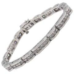 14 Karat White Gold 4 Carat Diamond Tennis Line Bracelet