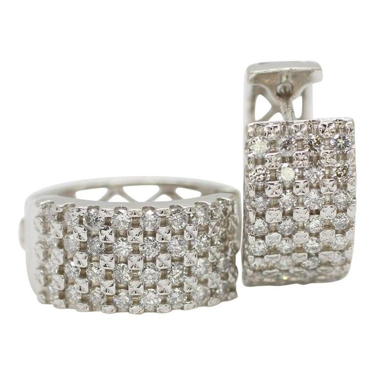 14 Karat White Gold 4-Row Diamond Huggies