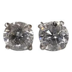 14 Karat White Gold 4.05 Carat Diamonds Stud Earrings