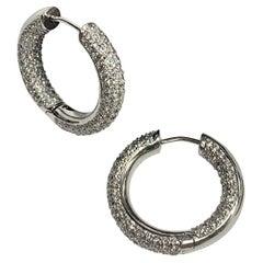 14 Karat White Gold 4.07 Carat  Diamonds Hoop Earrings