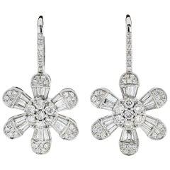 14 Karat White Gold 4.08 Carat Diamond Drop Dangle Flower Earrings