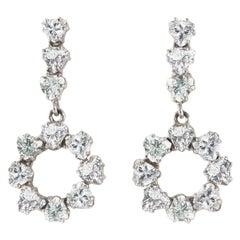 14 Karat White Gold 4.09 Carat Diamond Earrings