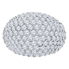 14 Karat White Gold 4.50 Carat Diamond Cluster Dome Ring