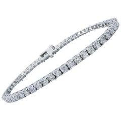 14 Karat White Gold 4.60 Carat Diamond Tennis Bracelet