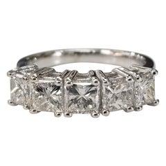 14 Karat White Gold 5 Princess Cut Diamonds Anniversary Wedding Ring 2.35 Carat