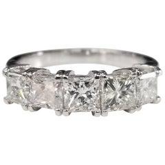 14 Karat White Gold 5-Stone Princess Cut Diamond Anniversary Ring 1.80 Carat