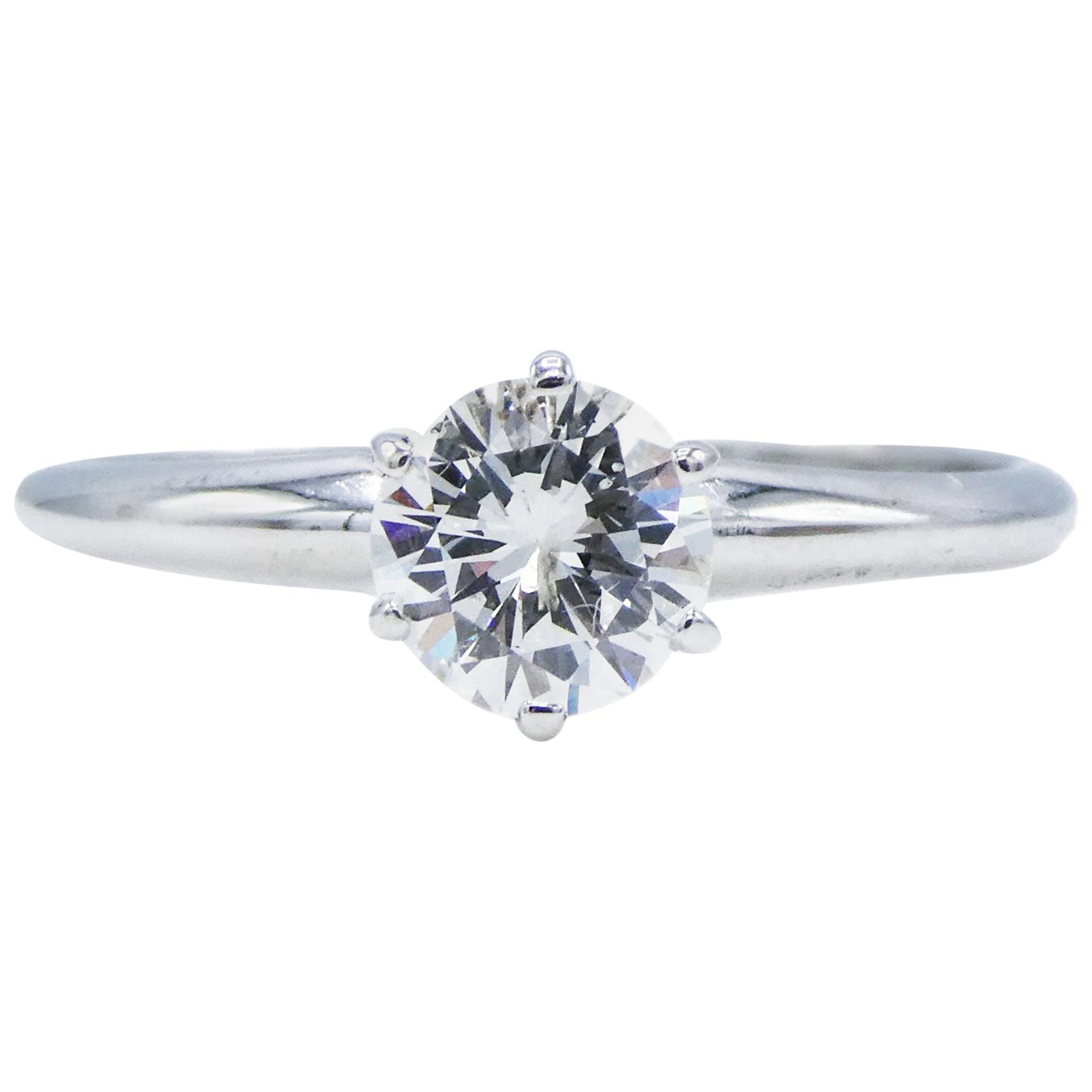 14 Karat White Gold .50 Carat Diamond Solitaire Engagement Ring