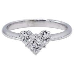 14 Karat White Gold .60 Carat Diamond Heart Cluster Ring