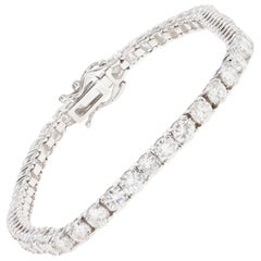 14 Karat White Gold 6.64 Carat Round Brilliant Cut Diamond Tennis Bracelet