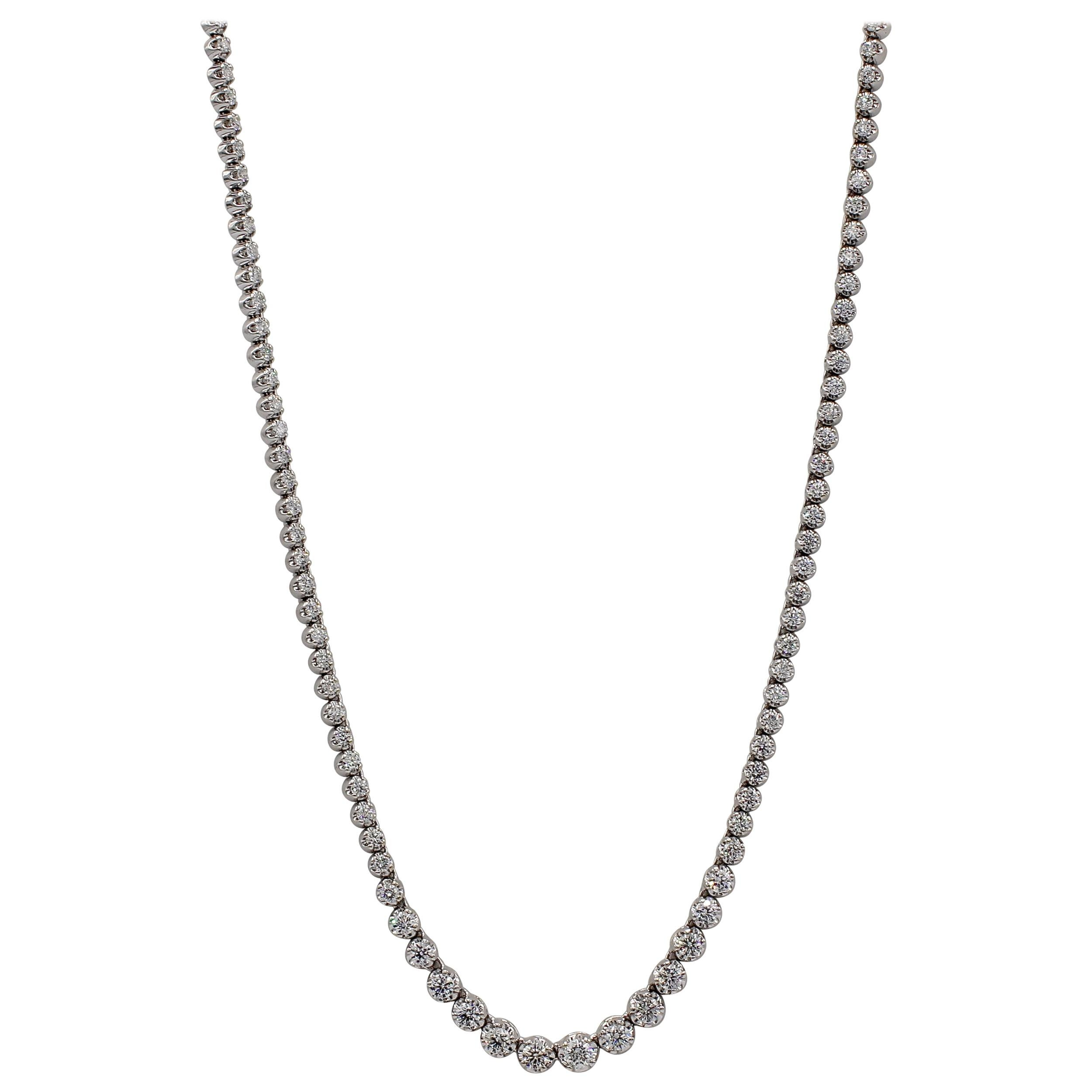 14 Karat White Gold 7 Carat Diamond Riviera Graduated Necklace