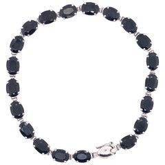 14 Karat White Gold Fancy Link Sapphire Bracelet