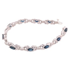 14 Karat White Gold Fashion Bracelet with Sapphires and Diamonds