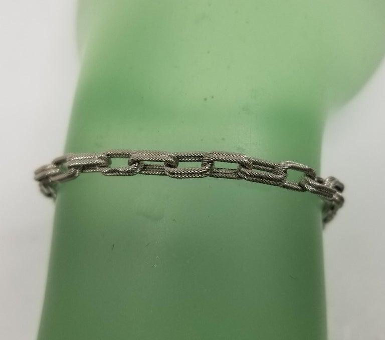 Women's or Men's 14 Karat White Gold Double Beaded Link Bracelet For Sale