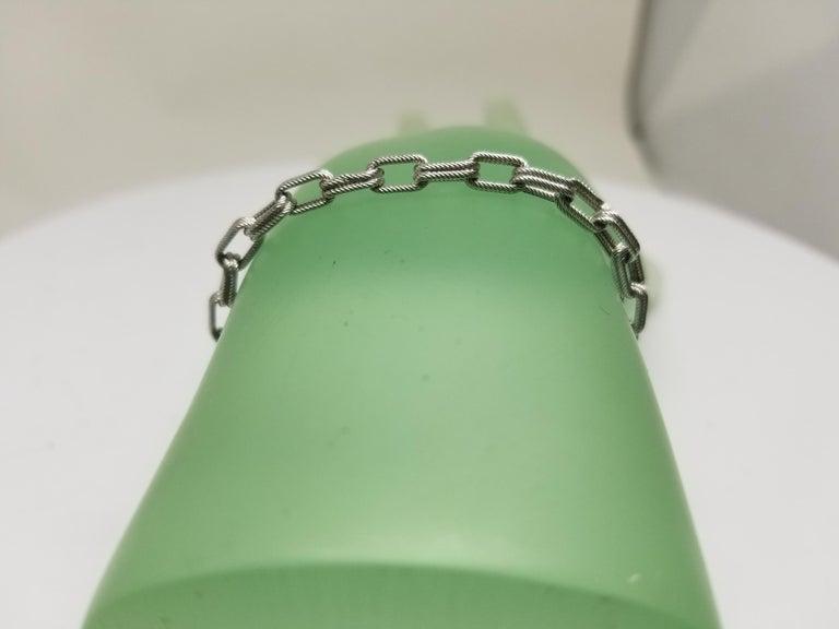 14 Karat White Gold Double Beaded Link Bracelet For Sale 1