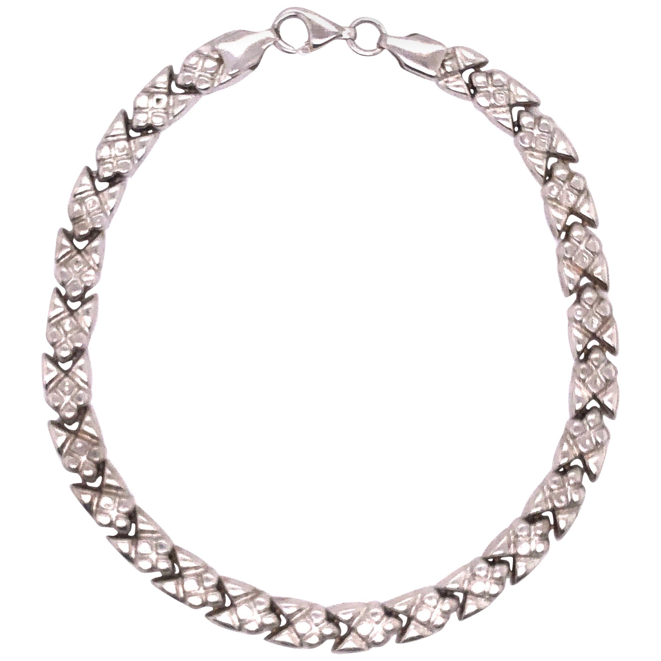 14 Karat White Gold Fancy Link Bracelet