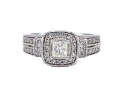 14 Karat White Gold .90 Carat Princess Cut & Round Diamond Halo Engagement Ring