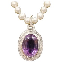 14 Karat White Gold Amethyst and Diamond Pendant on Pearls