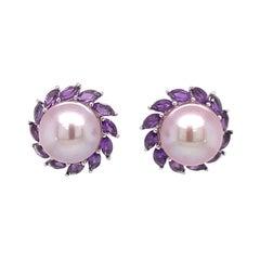 14 Karat White Gold Amethyst Pink Freshwater Pearl Earrings 1.81 Carats