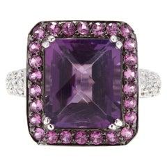 14 Karat White Gold, Amethyst, Pink Sapphire and Diamond Cocktail Ring