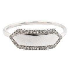 14 Karat White Gold and 0.11 Carat Diamond ID Ring