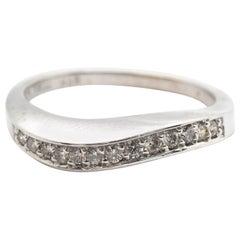 14 Karat White Gold and 0.24 Carat Diamond Wave Band Ring