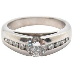14 Karat White Gold and 0.74 Carat Diamond Band Ring