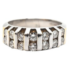 14 Karat White Gold and 1.00 Carat Double Row Diamond Band Ring
