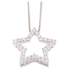 14 Karat White Gold and 1.25 Carat Diamond Star Pendant