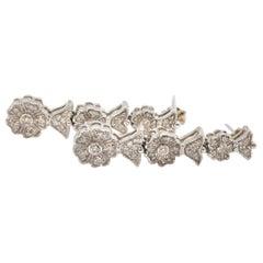 14 Karat White Gold and 1.28 Carat Diamond Flower Dangle Earrings 8.5 Grams