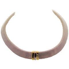 14 Karat White Gold and 14 Karat Yellow Gold Italian Woven Necklace