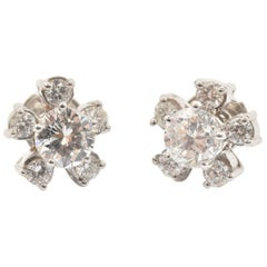 14 Karat White Gold and 1.48 Carat Round Diamond Flower Stud Earrings